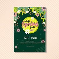 Olá kit de pôster floral primavera vetor