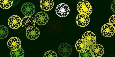 modelo de vetor verde claro e amarelo com círculos