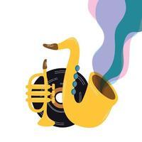 ícones de saxofone e instrumentos musicais vetor