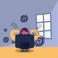 mulher de negócios estressada trabalhando em um desktop vetor