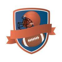 balão de futebol americano e capacete em escudo
