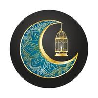 lua dourada e lanterna pendurada ramadan kareem vetor