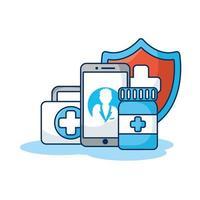 smartphone com drogas e escudo de tecnologia de telemedicina vetor