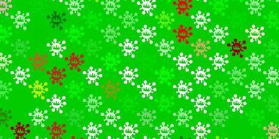 textura de vetor verde claro e vermelho com símbolos de doenças