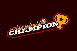 logotipo do vetor campeão de vôlei