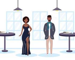 jovem casal africano na cena do restaurante vetor