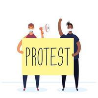 homens inter-raciais usando máscaras médicas protestando com cartaz e megafone vetor