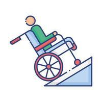 homem em cadeira de rodas em rampa desativada ícone de estilo plano