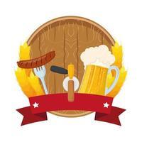 barril de madeira de cerveja com salsicha e jarra vetor