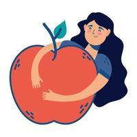 mulher abraçando maçã fruta fresca ícone saudável vetor