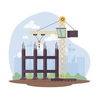 cena de construção com torre de guindaste no local de trabalho vetor
