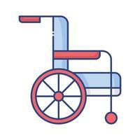 ícone de estilo plano de pessoa com deficiência em cadeira de rodas vetor