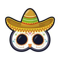 chapéu mexicano tradicional e máscara estilo simples ícone ilustração vetorial design vetor