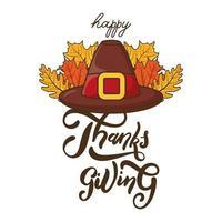 Letras de celebração feliz dia de ação de graças com chapéu de peregrino e folhas