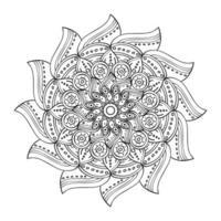 mandala floral diwali decoração desenhada ilustração vetorial ícone monocromático vetor