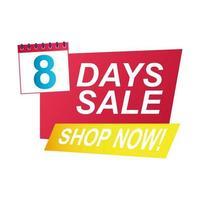 Crachá de contagem regressiva de venda de oito dias com calendário vetor