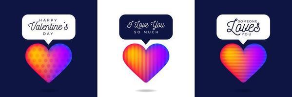 três adorável cartão de dia dos namorados coração arco-íris como conjunto de contador