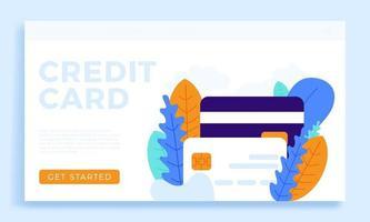 ilustração de estoque vetorial de cartão de crédito para página de destino vetor