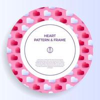 borda de cartaz, banner ou quadro de cartão com coração isométrico de amor