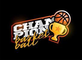 logotipo de vetor campeão de basquete