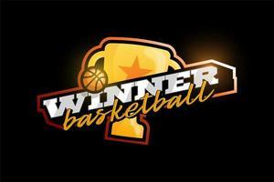 logotipo de vetor vencedor de basquete