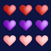 conjunto de vetores de corações realistas coloridos