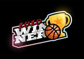 logotipo de vetor de basquete vencedor 2020