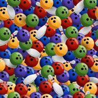 boliche colorido padrão de vetor sem costura