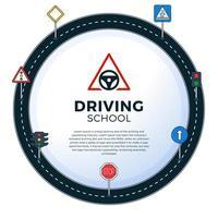 sinalização de trânsito dirigir cartazes de banner de panfleto escolar vetor