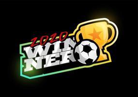 logotipo de vetor de futebol vencedor 2020