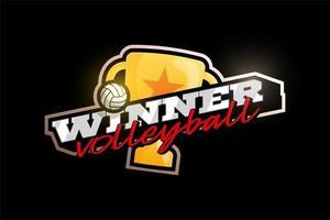 logotipo de vetor de voleibol vencedor