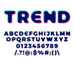 letras e números estereoscópicos em 3D vetor