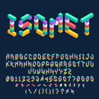 design de fonte 3d isométrica de cubos coloridos vetor