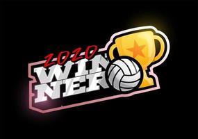 logotipo de vetor de voleibol vencedor de 2020