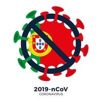 portugal flag sinal atenção célula coronavírus vetor