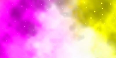 textura vector rosa claro, amarelo com belas estrelas.