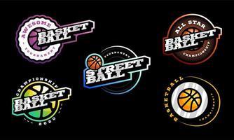 conjunto de logotipo de vetor de basquete