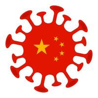 China bandeira sinaliza cautela contra surto de coronavírus 2019-ncov vetor