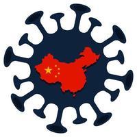 China bandeira mapa sinal cautela surto coronavírus 2019-ncov vetor