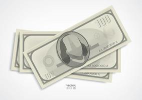 notas de dólar em fundo branco. vetor.
