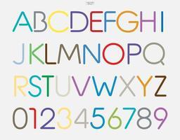 letras e números do alfabeto estilizado colorido. design de tipo de letra elegante. vetor. vetor