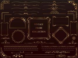 Um conjunto de frames vintage dourados variados. vetor