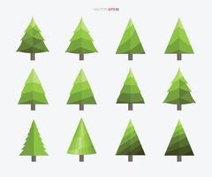 coleção de árvore de natal. sinal e símbolo de árvore abstrata. vetor.