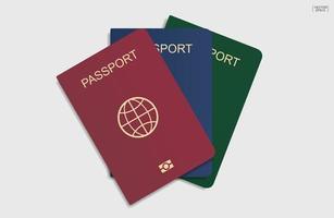 passaportes em fundo branco. vetor. vetor
