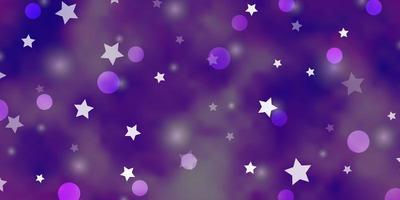 textura vector roxo claro com círculos, estrelas.