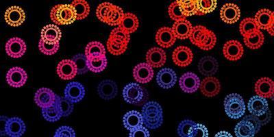 pano de fundo escuro multicolorido com símbolos de vírus. vetor