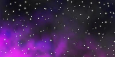 textura vector roxo escuro, rosa com belas estrelas.