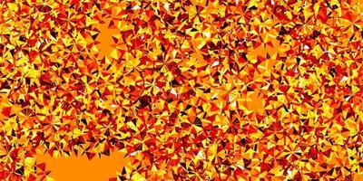 textura vector vermelho, amarelo claro com flocos de neve brilhantes.