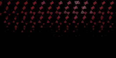 padrão de vetor rosa escuro, vermelho com elementos mágicos.