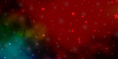 layout de vetor multicolorido escuro com estrelas brilhantes.